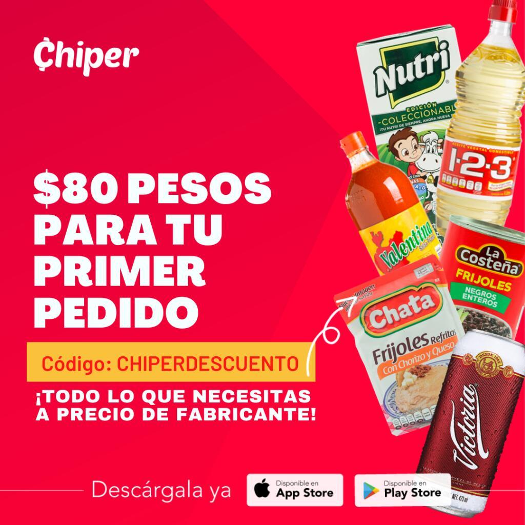 Chiper: Obtén $80 de descuento en compras de $200 (solo CDMX y Edo de Mex)
