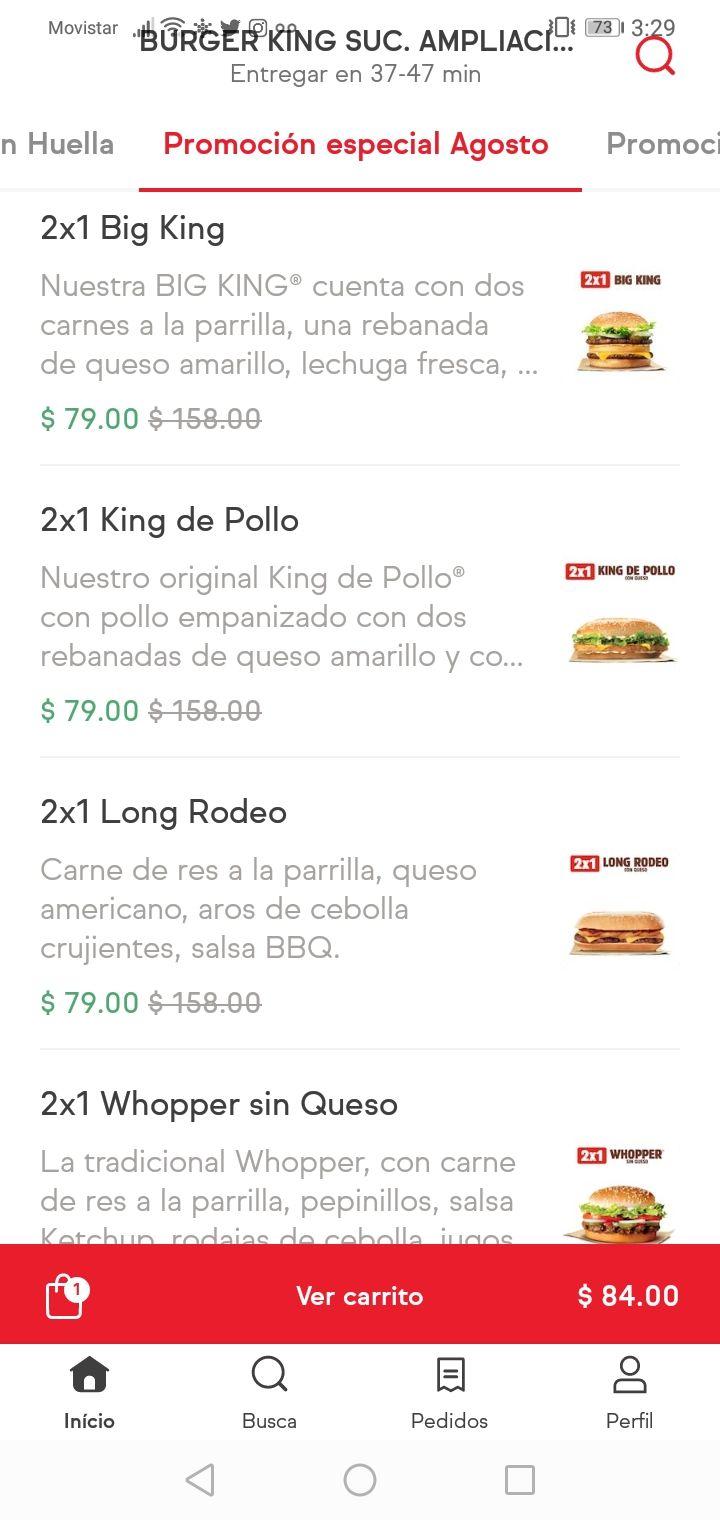 Sin delantal y Burger King 2 big king o whopper por $79