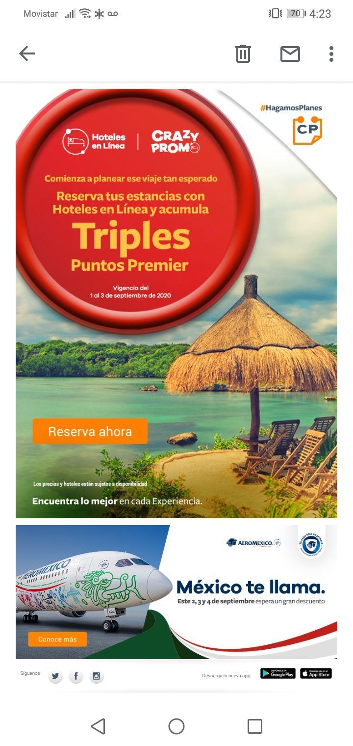 Club Premier Hoteles en línea: Triples puntos en Club Premier al reservar del 1 al 3 de septiembre de 2020
