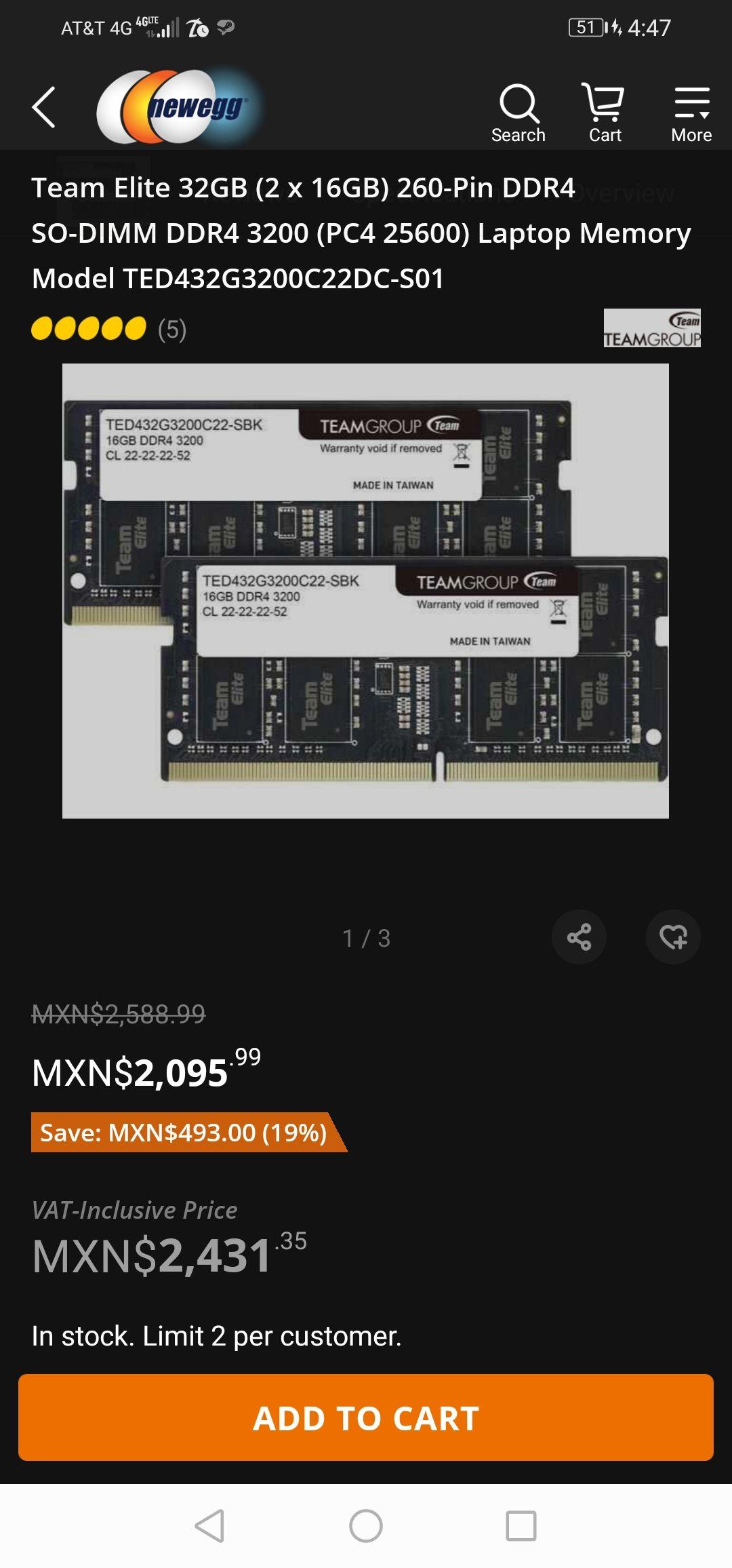 Ram (2x16) 32gb ddr4 a 3200mhz para laptop en Newegg