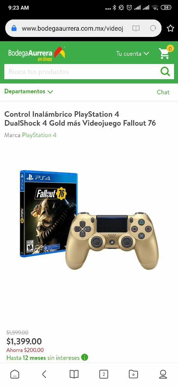 Bodega Aurrera: Control Inalámbrico PlayStation 4 DualShock 4 Gold más Videojuego Fallout 76
