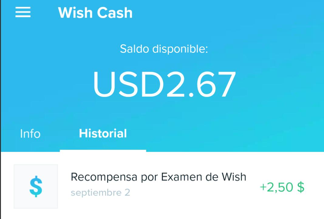 Wish (app): $2.5 dólares gratis (contestando 5 sencillas preguntas)