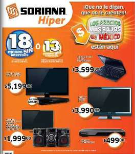 "Folleto Soriana: 20% de descuento en series de luces, pantalla LED 32"" + Blu-ray $5,199 y +"