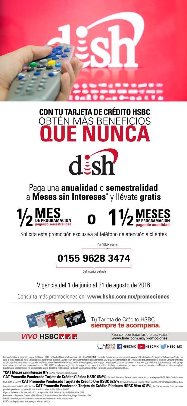 Dish: 1 mes y medio gratis al pagar la anualidad con HSBC a 12 MSI
