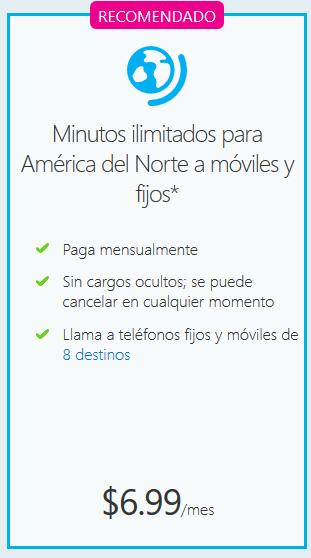 Skype: Minutos ilimitados para América del Norte a móviles y fijos