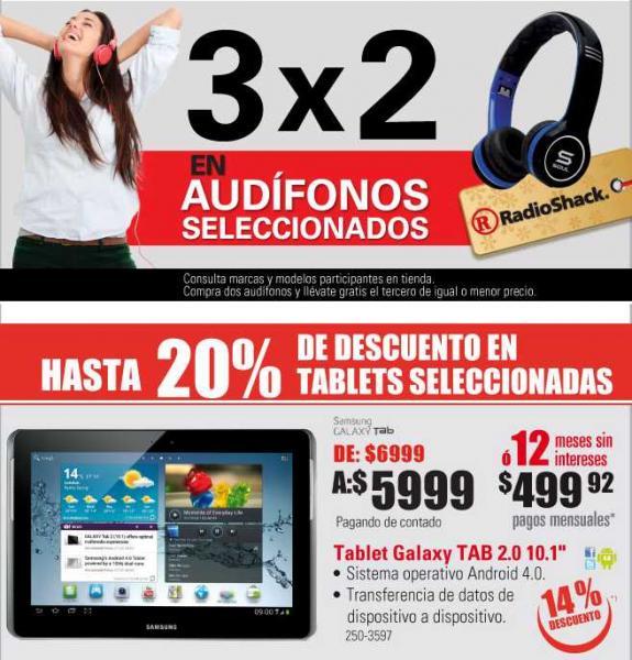 RadioShack: descuentos en pantallas, cámaras, tablets y 3x2 en audífonos