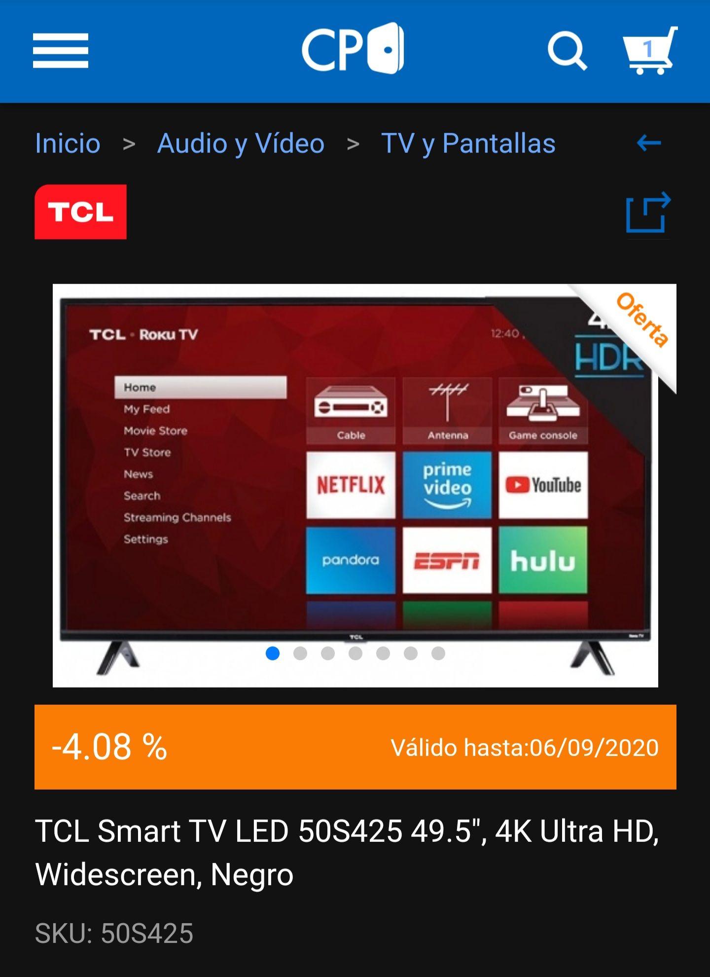 "Cyberpuerta: Pantalla TCL Smart TV-50S425, 50"" 4K UHD, RokuTV (PAYPAL+BANORTE)"