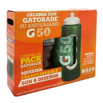 Walmart super en línea: Gatorade 3 pzas de 750 ml + squeezer coleccionable a $45 y variedad de sabores de 500 ml a $9.90