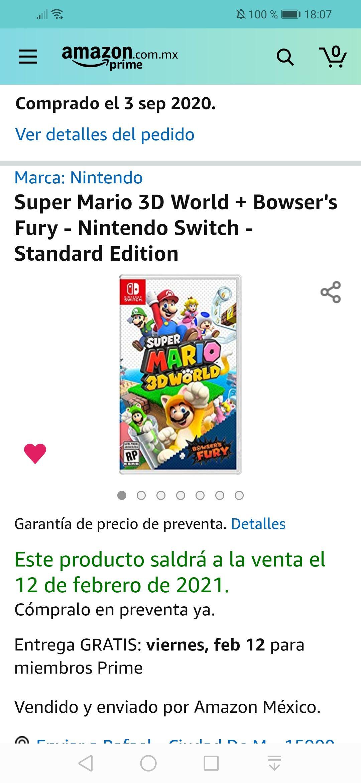 Amazon: Preventa Super Mario 3D World - Nintendo Switch