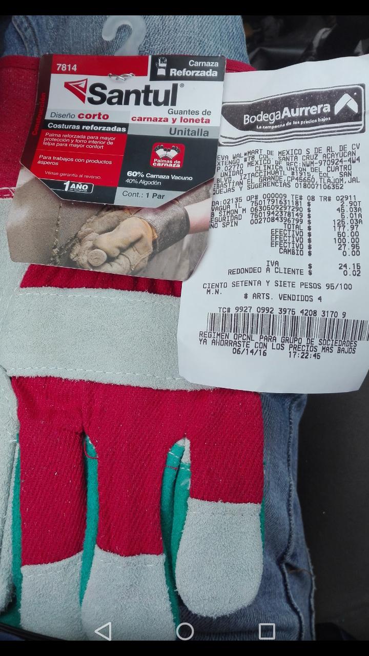 Bodega Aurrerá union del 4 Tlajomulco: guantes Santul de piel en $5