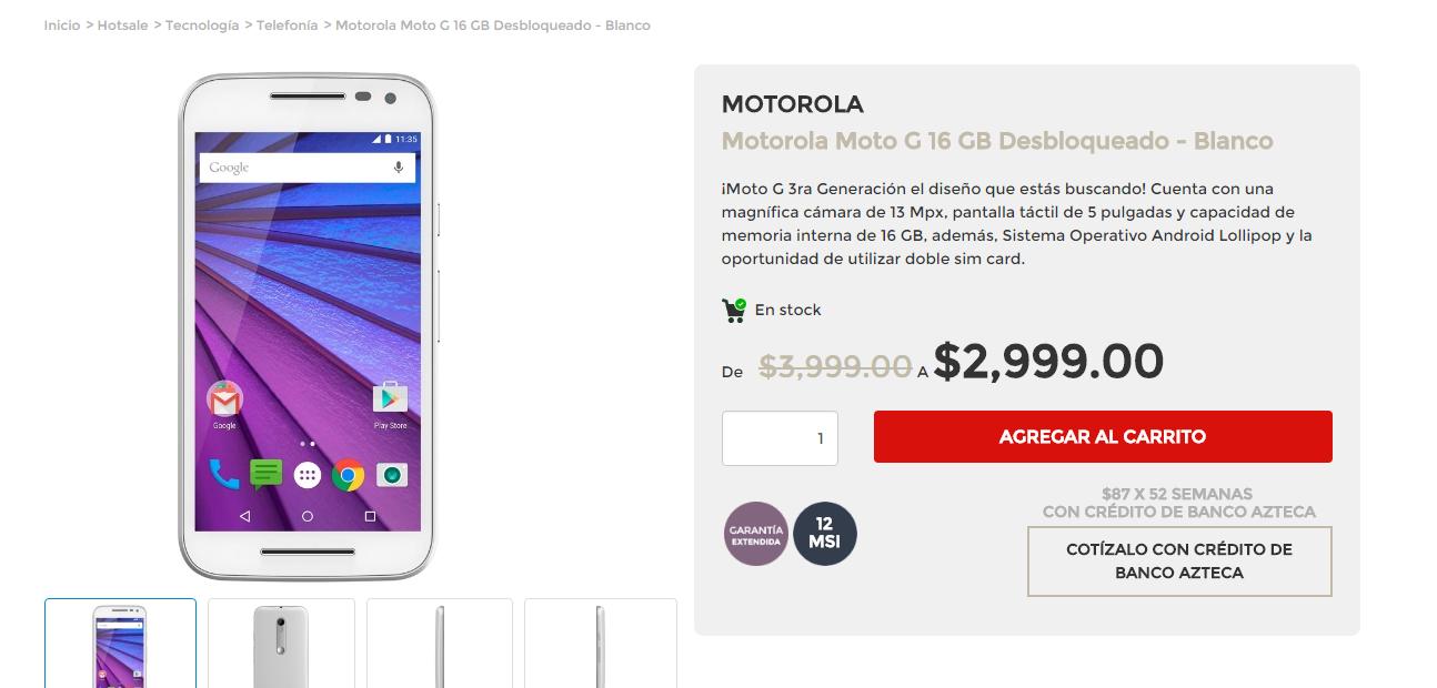 Elektra en línea: Moto G 3ra Generación de 16 GB a $2,999