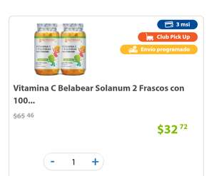 Sam's Club: vitamina C, niños, 2 frascos con 100 gomitas c/u