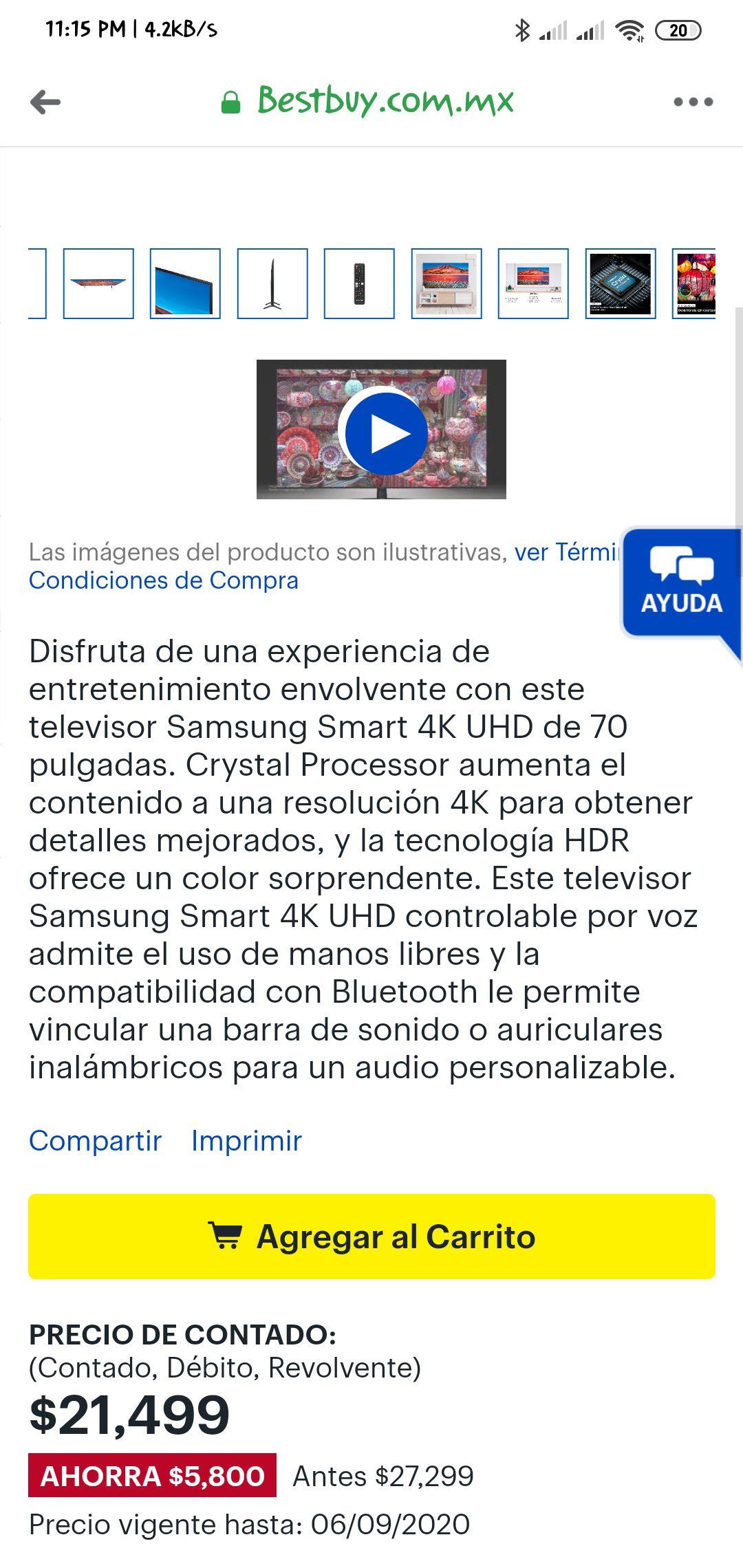 """Best Buy: TV Smart Samsung 70"""""""
