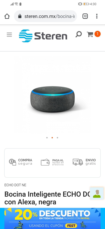 Steren: Bocina Inteligente ECHO DOT con Alexa, negra