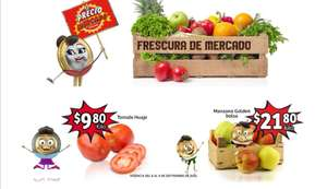 Soriana Mercado y Express: Frescura de Mercado 8 y 9 Septiembre: Jitomate $9.80 kg... Manzana Golden en Bolsa $21.80 kg.