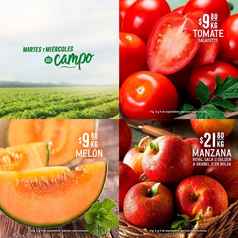 Soriana Híper y Súper: Martes y Miércoles del Campo 8 y 9 Sept: Jitomate ó Melón $9.80 kg; Manzanas Golden ó Gala Granel y Bolsa $21.80 kg.