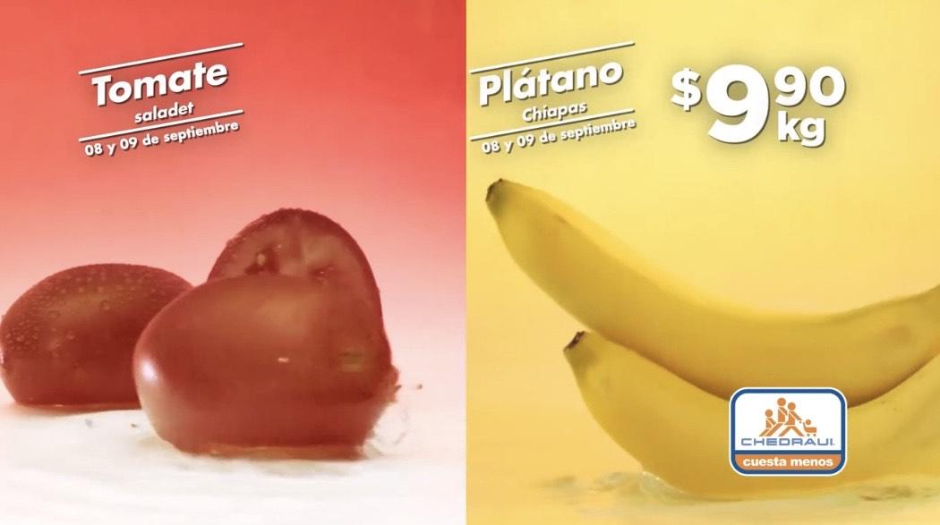 Chedraui: Martimiercoles de Frutas y Verduras 08 y 09 Septiembre 2020 | Plátano, Jitomate Saladet $9.90kg; Aguacate $29.50kg y más...