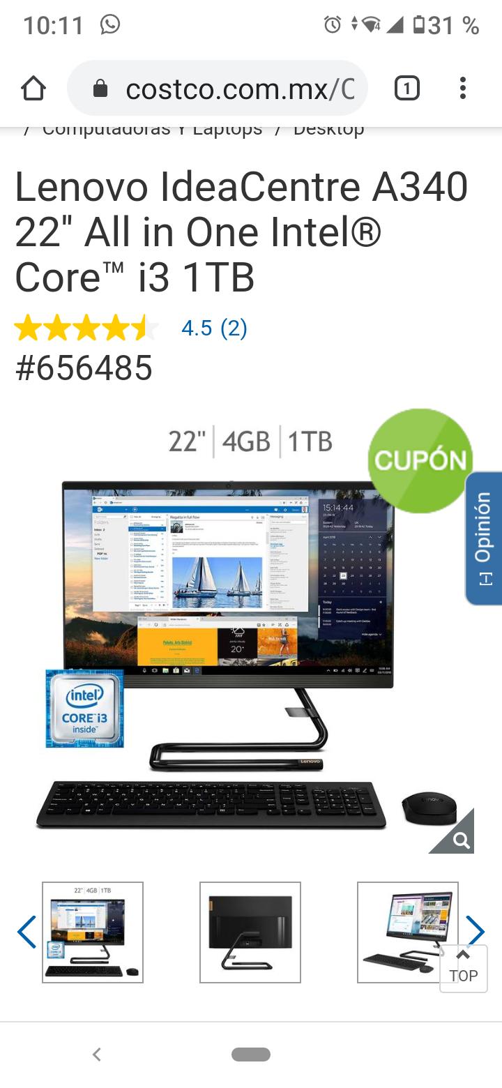 Costco: Lenovo IdeaCentre A340 22'' All in One Intel® Core™ i3 1TB con Paypal y Banorte