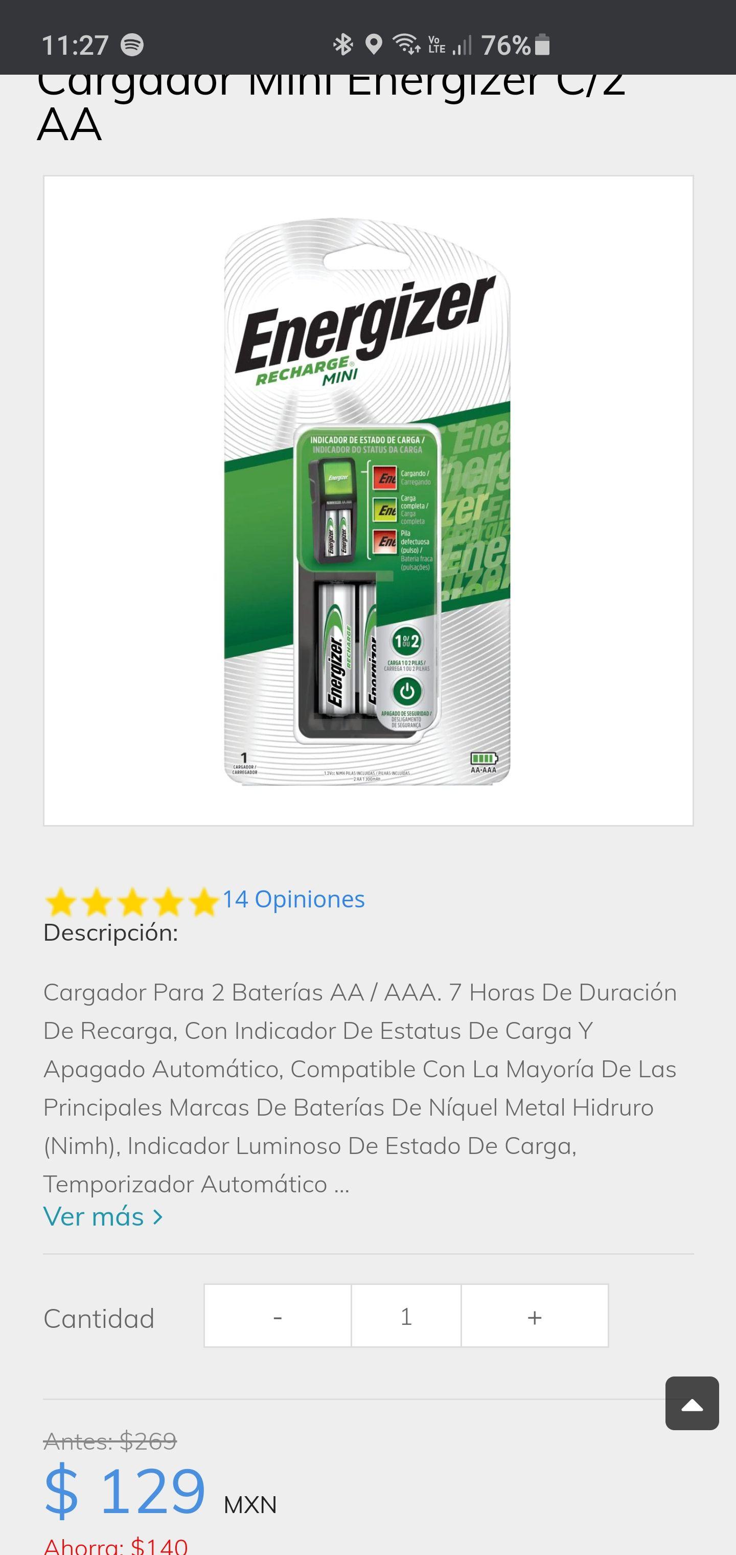 Sanborns: Cargador mini+2 pilas AA energizer recargables, ideales para control de xbox