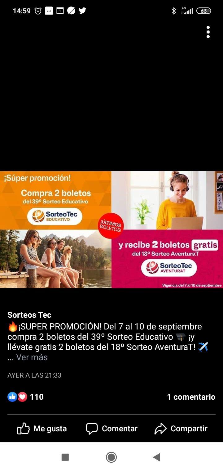 Sorteo Tec: Recibe dos boletos para SorteoTecAventuraT al comprar 2 boletos para el sorteo educativo