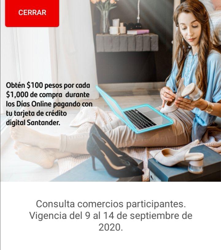 Santander: Obtén 100 pesos x cada 1000 en compras en Días Online