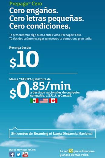 Movistar Prepago Cero: $0.85 el minuto a todos los números en México, USA y Canadá