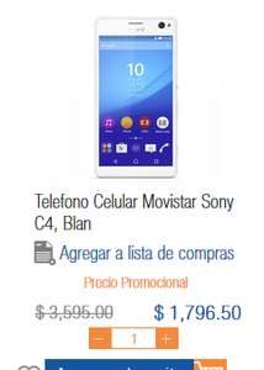 Chedraui Puebla: Sony xperia C4 Movistar a $1,796