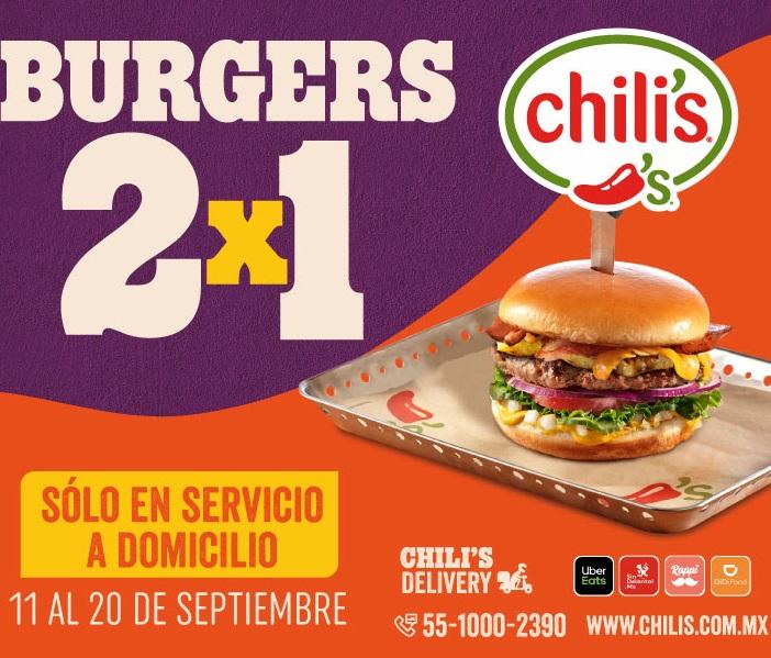Chili's: 2x1 en Hamburguesas a Domicilio y otras promociones.