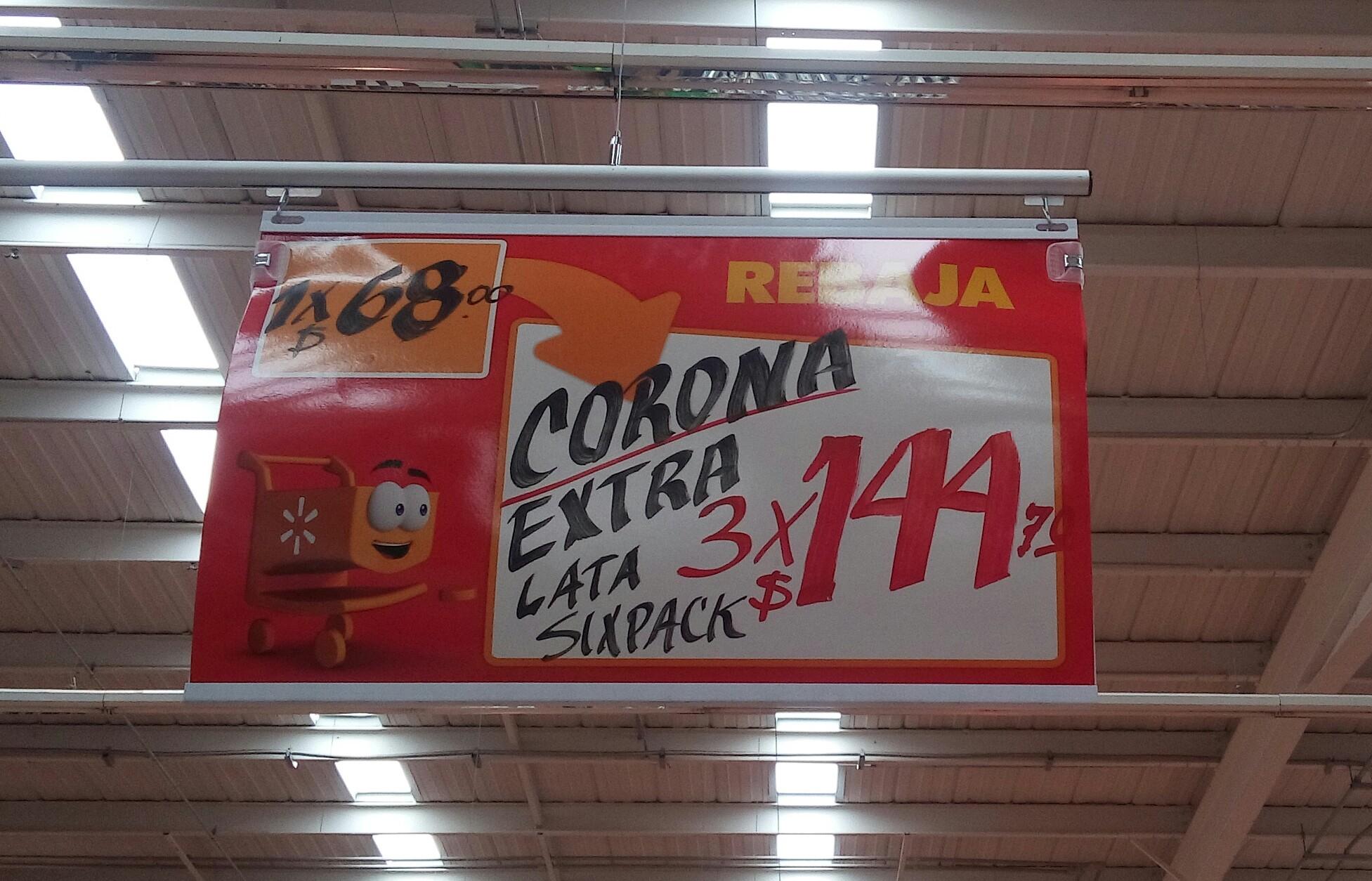 Walmart 57 San Luís Potosí: 3 six de Corona lata por $144
