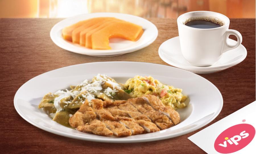 Groupon / Peixe: VIPS $95 Desayuno de milanesa con chilaquiles y huevo + jugo o fruta + café x $95