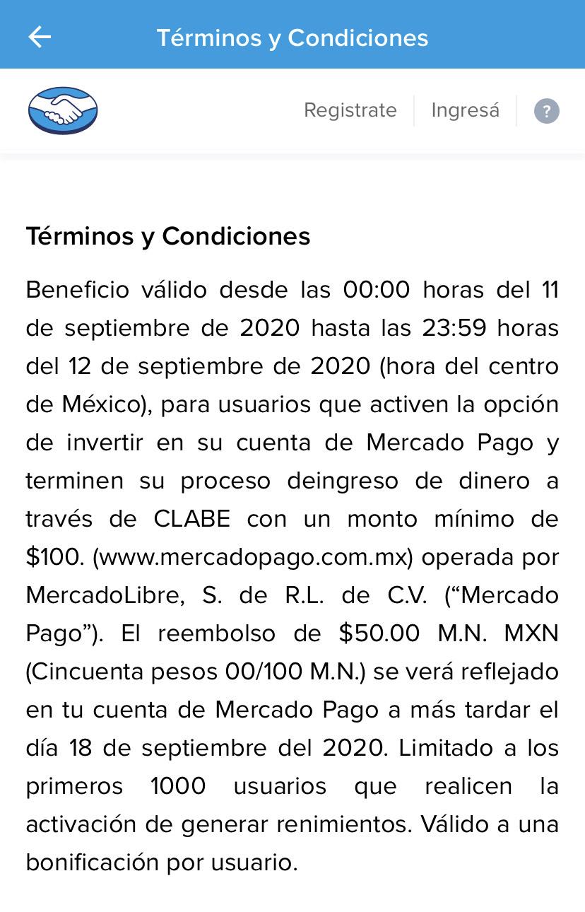 50 pesos gratis en Mercadopago al invertir 200