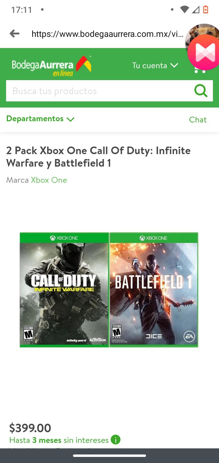 Bodega Aurrera: Pack: Battlefield 1 + CoD: Infinite Warfare.