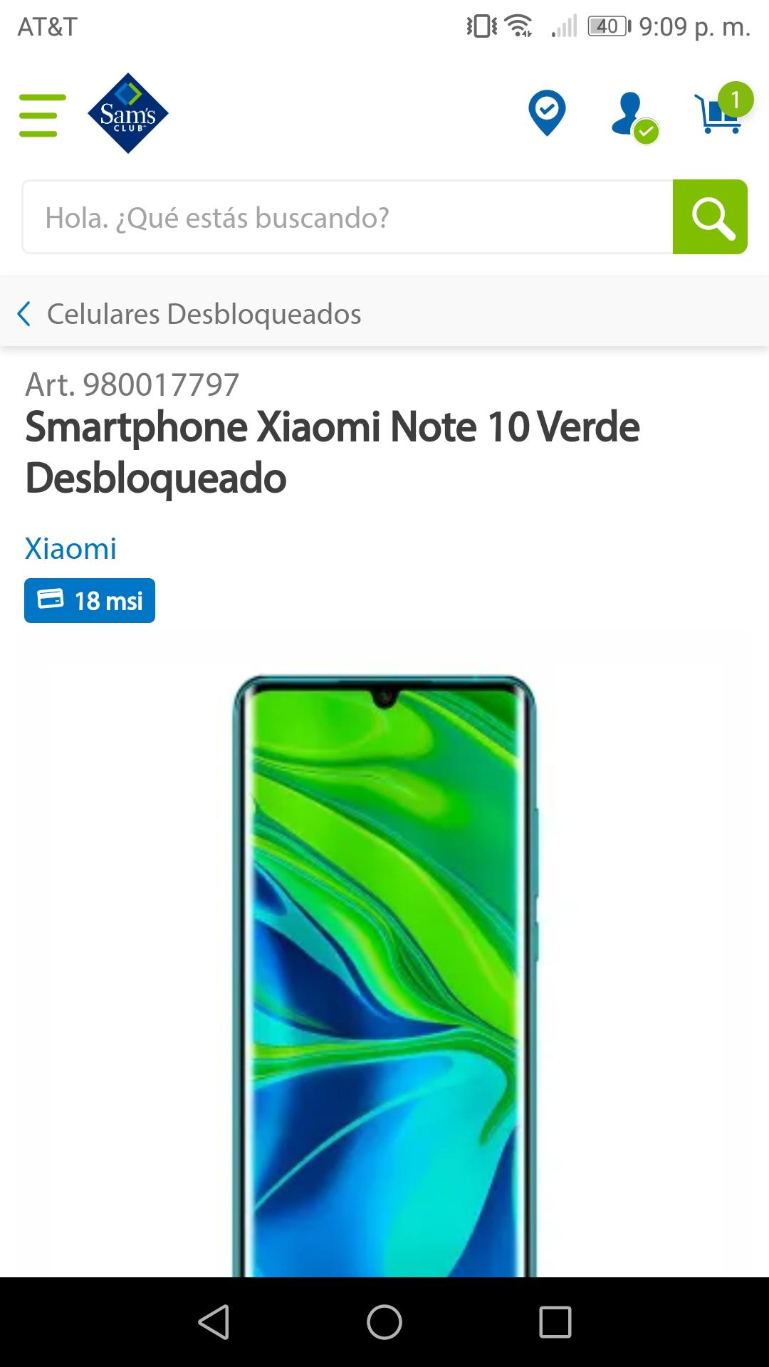 Sam's Club: Smartphone Xiaomi Note 10 Verde Desbloqueado