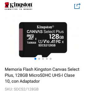 Cyberpuerta: Memoria Flash Kingston Canvas Select Plus, 128GB MicroSDHC UHS-I Clase 10, con Adaptador