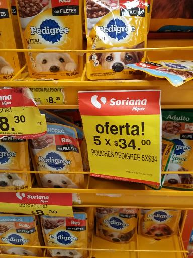 Soriana Reynosa: sobrecitos pedigree 5 x $34
