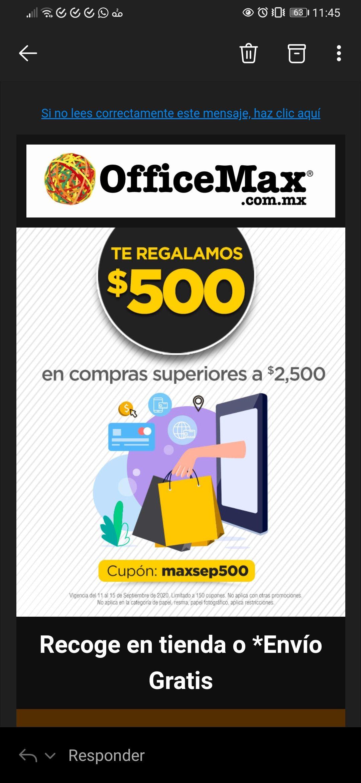 Office Max: 500 pesosde descuento en compras superiores a 2500