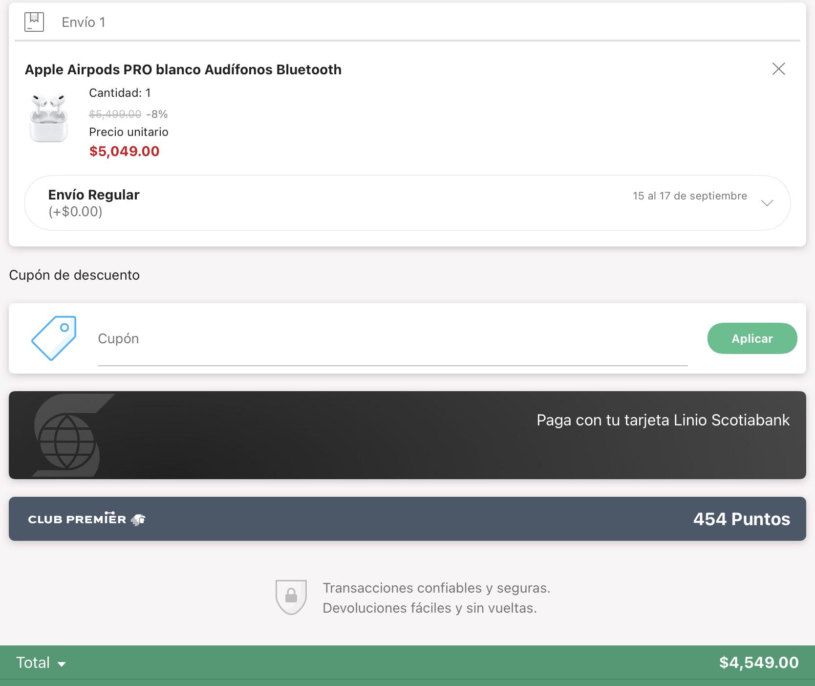 Linio App: Apple AirPods Pro 10 % pagando con PayPal