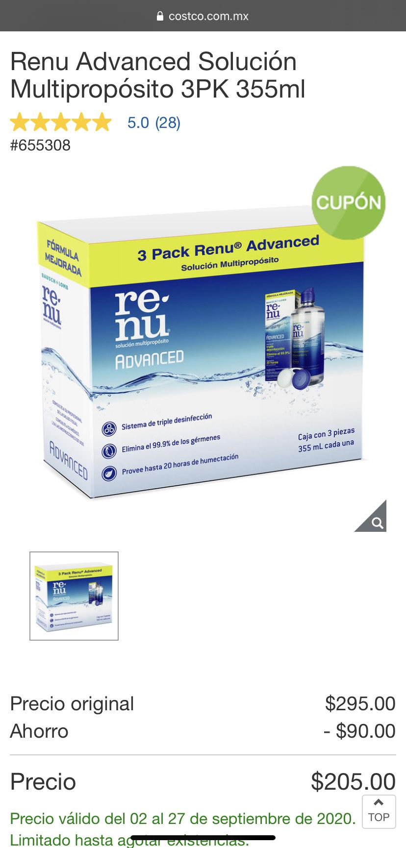 Costco Renu Multipropósito 3PK 355ml para lentes de contacto