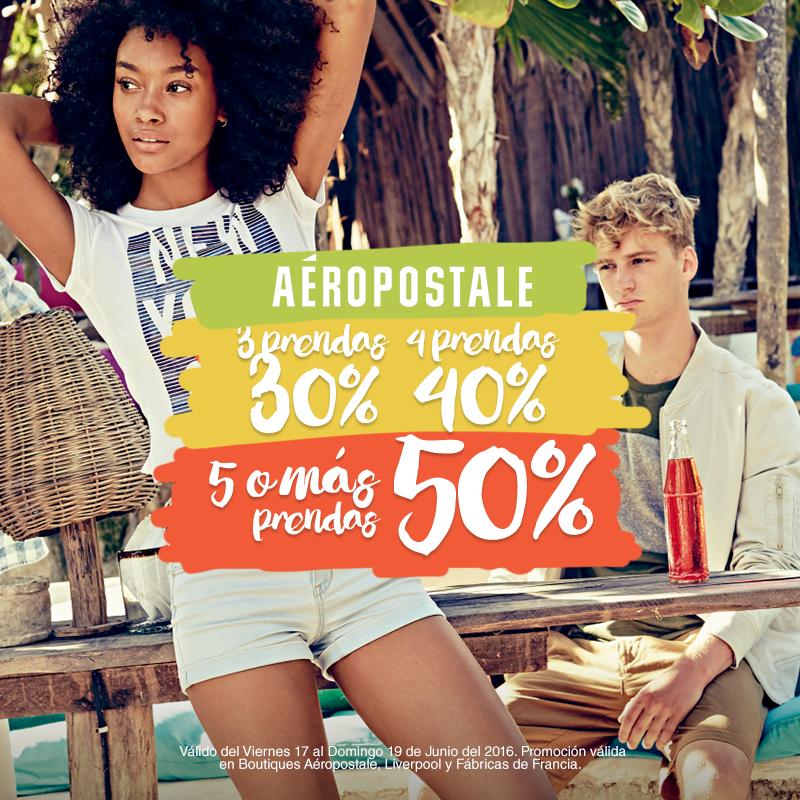 Aéropostale: 50% de descuento con compra mínima (promo escalonada)