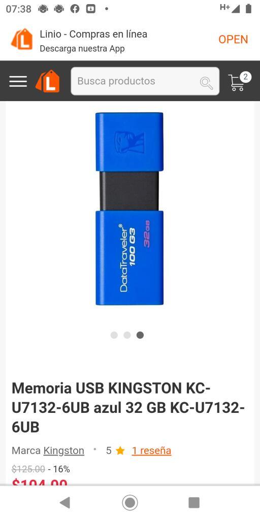 Linio: Memoria USB kinGston KC-U71326UB