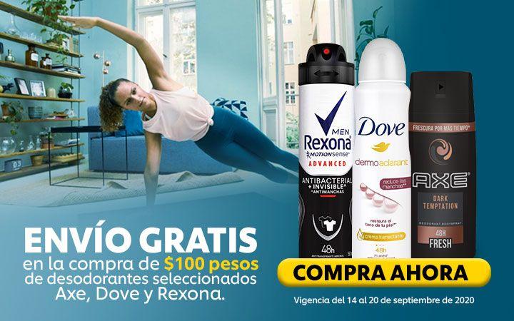 Chedraui: Envío gratis en la compra de $100 en desodorantes seleccionados Axe, Dove y Rexona