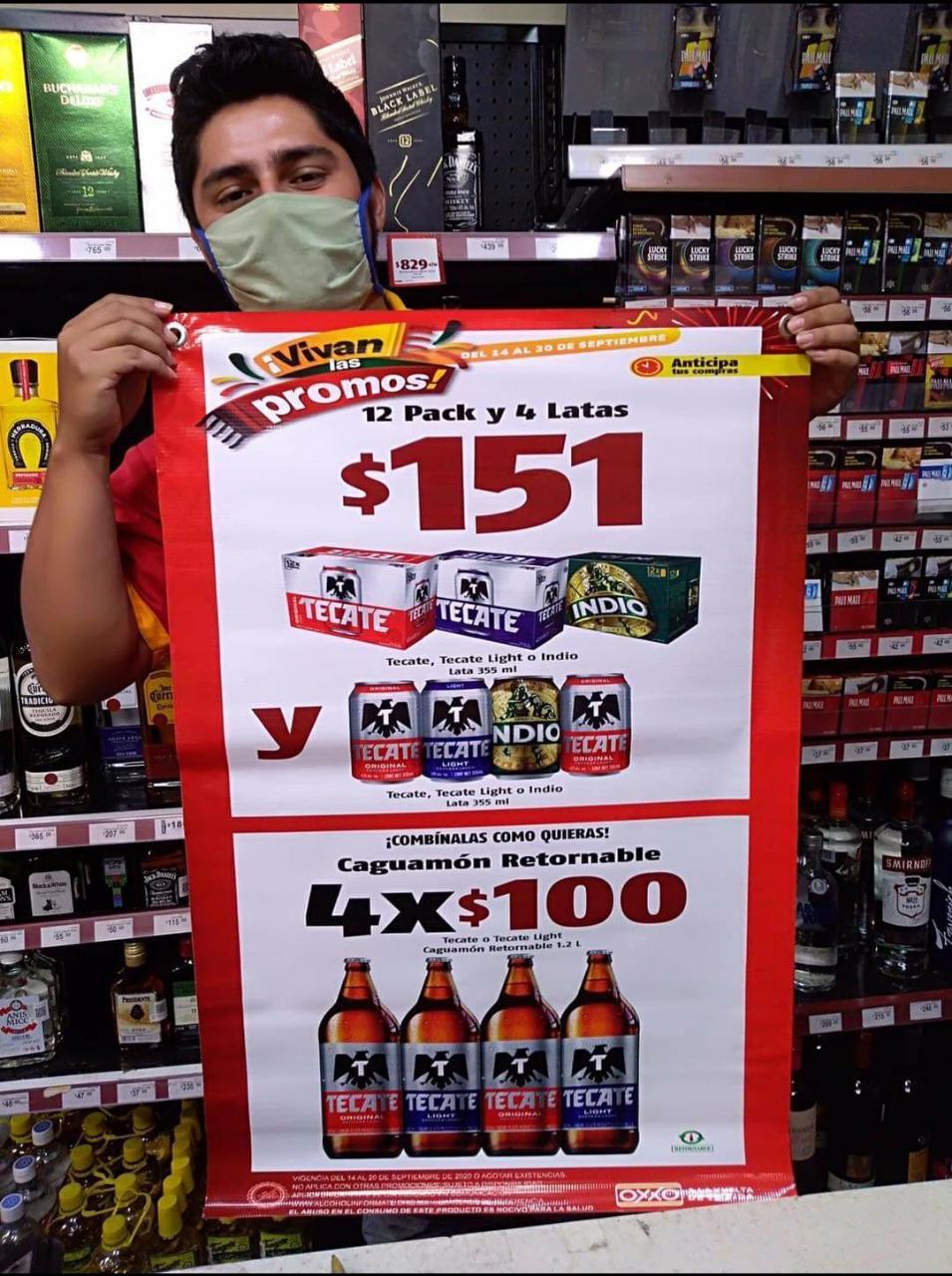 oxxo: 12 de cerveza mas 4 lastas por 151 pesos 4 caguamones por 100 pesos