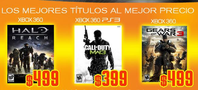 Blockbuster: Halo Reach o GW3 a $499, MW3 $399 y $700 menos en Xbox 360 250GB