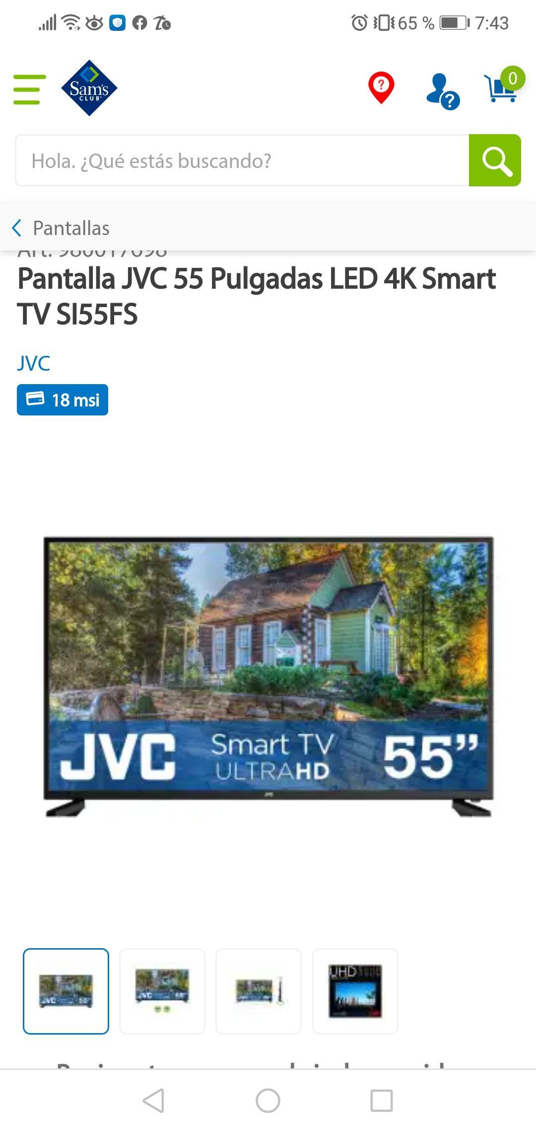 Pantalla JVC 55 Pulgadas LED 4K Smart TV SI55FS En sams club