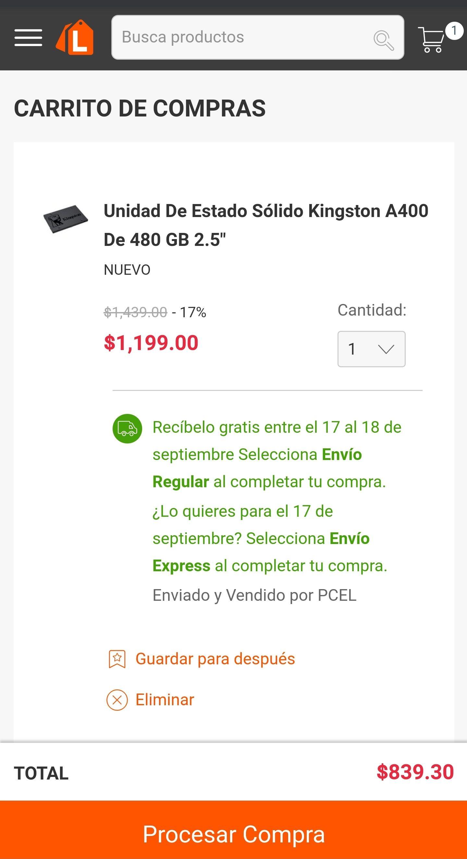 """Linio: SSD Kingston 2.5"""" 480 gb (pagando con Scotia)"""
