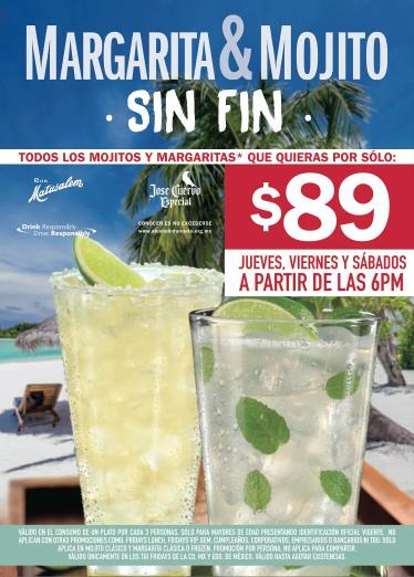 TGI Fridays: jueves, viernes y sábados todos las Margaritas y Mojitos que quieras por $89! (CDMX)
