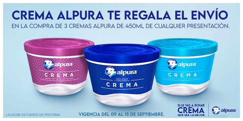 La Comer: Envío gratis en la compra de 3 cremas Alpura de 450 ml de cualquier presentación