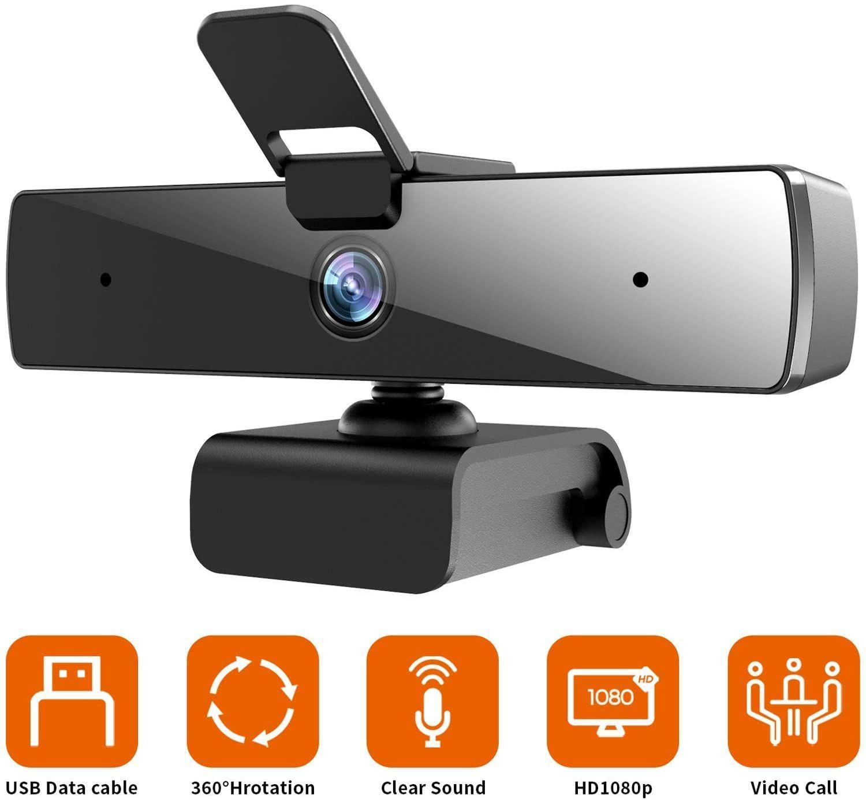 Amazon USA: Camara Web / Webcam Con Cubierta FHD 1080p 360° Rotación [Relampago + Cupón 50%]