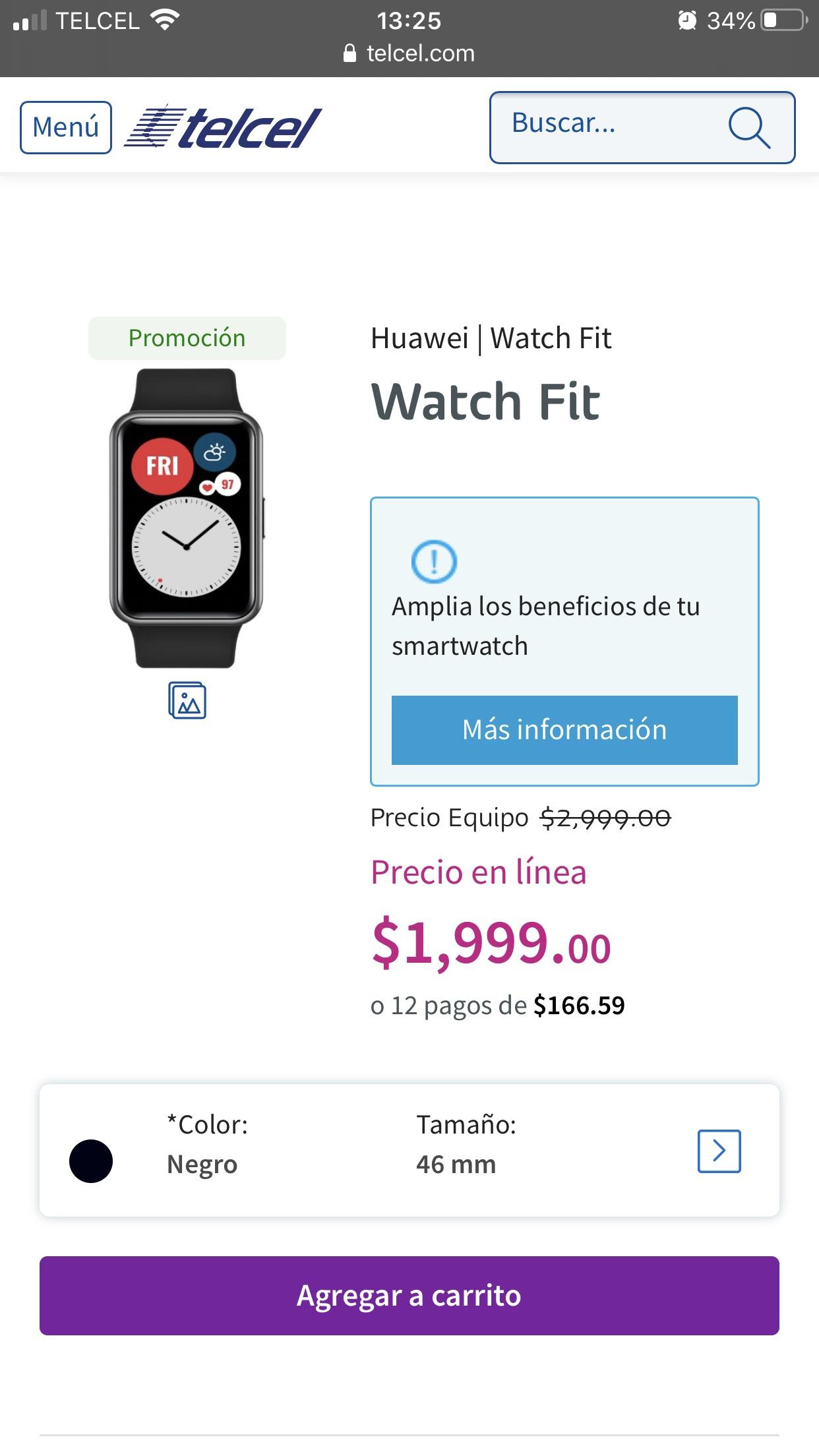 Telcel en linea: Huawei Watch fit 46 mm