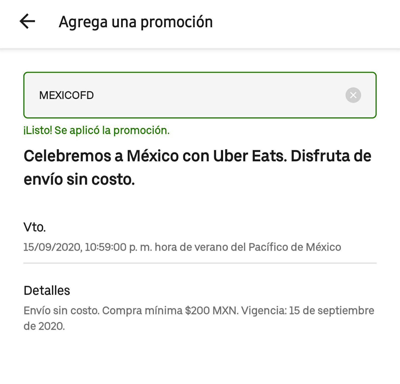 Uber Eats: Envío Gratis 15 de Septiembre